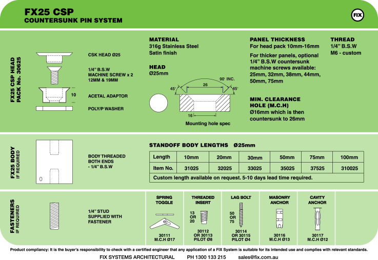 FX25 CSP, Countersunk Pin System Specifications