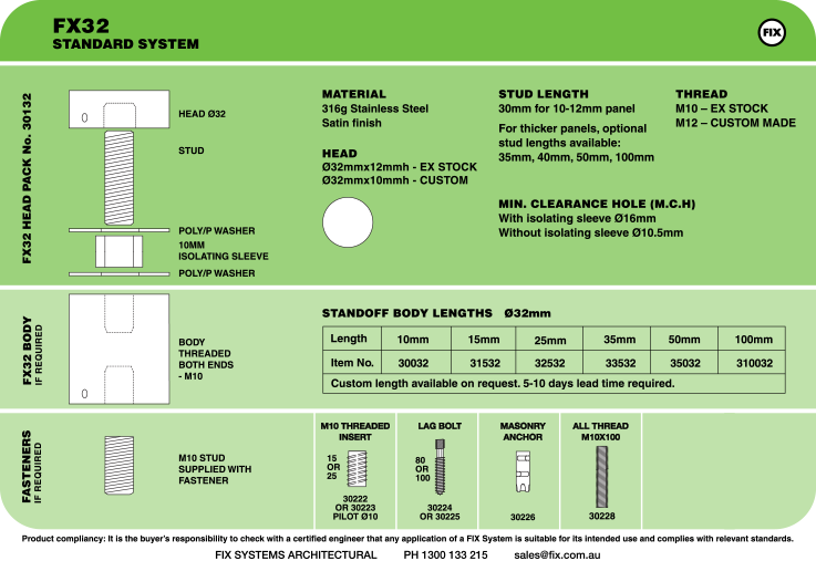 FX32, Standard System Specifications